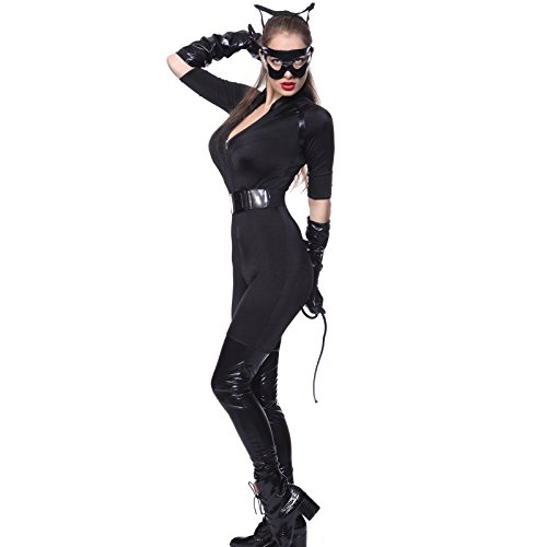 Sexy Damen Kostuem Catsuit Overall Ganzkoerper Catlady Catgirl Catwomen Batgirl (Batgirl Anzug)