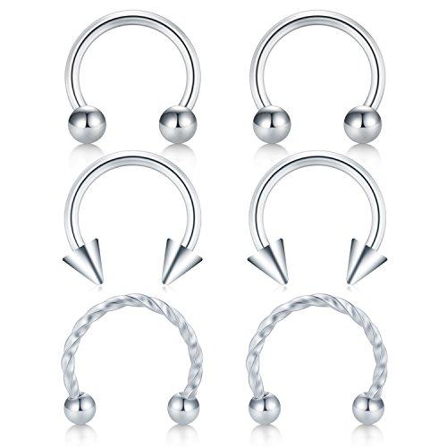 Briana Williams 6PCS Ball Arrow Twist Nose Septum Horseshoe Earring Eyebrow Lips Helix Tragus Cartilage Piercing Ring 16G 8mm