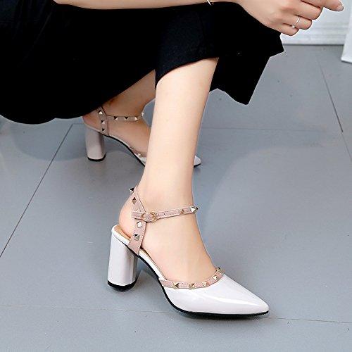 Lgk & FA dété Sandales pour femme Sandales femme à bout pointu talons talons rivets Boucles Cuir Chaussures Femme talons hauts 7.5cm 36 grey