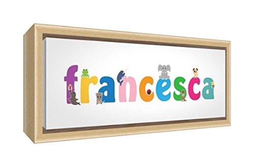 Little Helper Kunstdruck auf gerahmter Leinwand Holz natur, Position personalisierbar mit Namen Mädchen Francesca 25 x 63 x 3cm mehrfarbig -