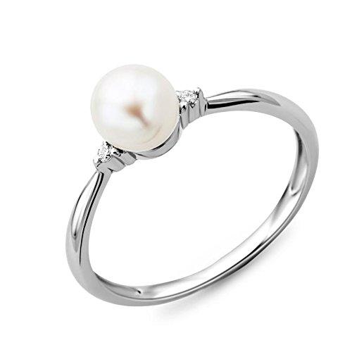 Miore Damen Ring 9 Karat (375) Weißgold Süßwasser-Zuchtperle mit 2 Brillanten Gr.53 MG9057R3