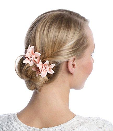 SIX 2er Set gold farbene Haarspangen mit rosa Lilien Blumen, 6 cm, Haarschmuck, Kopf Schmuck, Hochzeit, Feier (488-153)