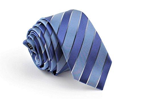 ADAMANT® Designer Krawatte, schmal, verschiedene Muster - TOPQUALITÄT - Moderne Krawatten für Business und Alltag (blau/blau Streifen) (Streifen-krawatte Breite)