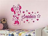 stickers muraux chambre Mickey Mouse Sticker Mural Decal Art Mural Mignon Minnie Souris Avec Personnalisé Personnalisé Bébé Nom Vinyle Sticker Mural pour bébé