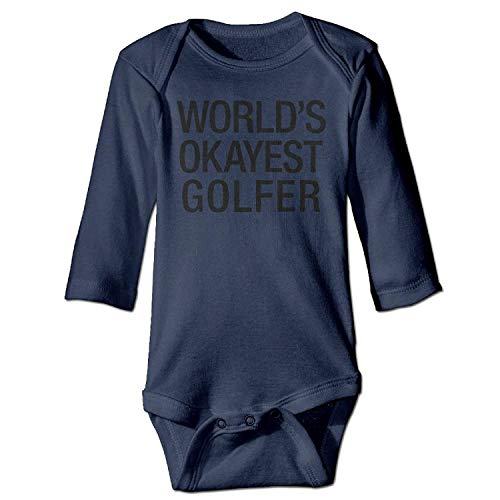 MSGDF Unisex Newborn Bodysuits World's Okayest Golfer Boys Babysuit Long Sleeve Jumpsuit Sunsuit Outfit Navy