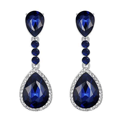 Clearine Damen Ohrringe Modern Hochzeit Braut Kristall Tropfen Romantik Dangle Ohrclips Sapphire-Dunkelblau Silber-Ton