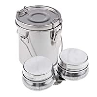 B Baosity Small Stainless Steel Leak Proof Brush Washer Cleaner with Stainless Steel Double Dipper Container Cup Oil Pot Water Paint Palette Cup Clip With Lid