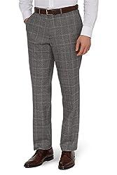 Savoy Taylors Guild Men`s Regular Fit Black & White Check Suit Trousers 48l