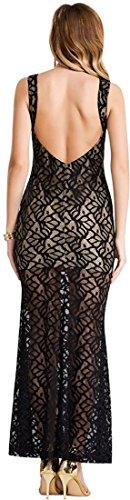 jeansian Damen Sehen durch r¨¹ckenfreie Lace Kleid Maxi Kleider Tops WHS038 Black