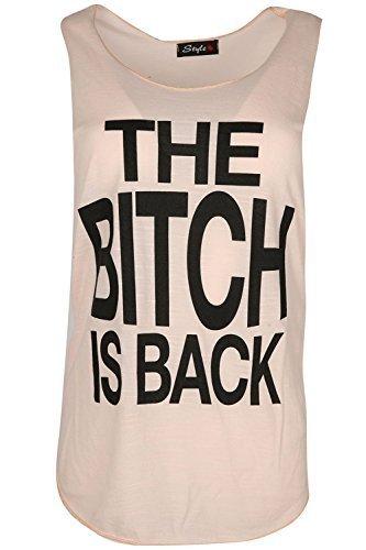 Damen Freizeit Schlampe is Back Slogan ärmellos U-ausschnitt Gym Sommer Tank-rand Trikot Weste T-Shirt Top Übergrößen - Schlampe is Back Pfirsich, S/M (UK 8/10) (Damen-tank-top Schlampe)