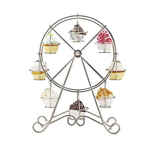 Cupcake Dessert Ständer Halter - Cupcake Stand- für Zirkus-Themenpartys-Geburtstage/Hochzeiten/Mehr - Platz für 8 Cupcakes,Silver ()