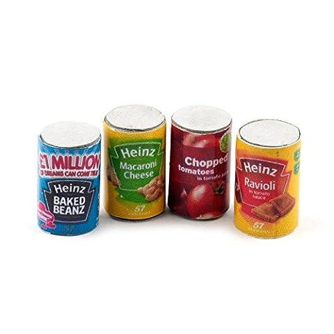 MyTinyWorld Dolls House Miniature Set of 4 Food Cans by MyTinyWorld
