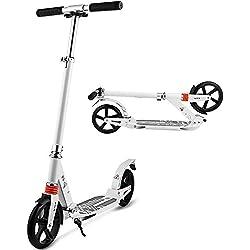 YUEBO Trottinette Adultes Pliable Patinette Enfant 2 Roues City Scooter City Roller Kick Scooter Enfants et Adultes (Blanc)