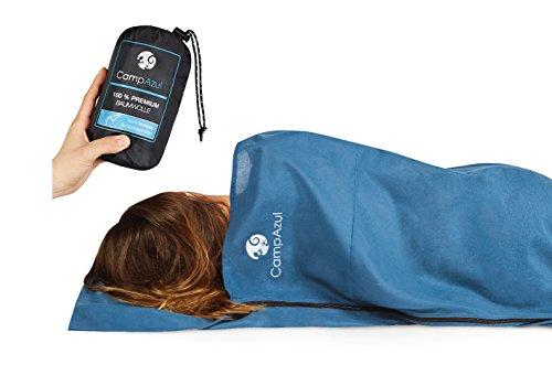 Camp-Azul-Premium-Baumwollschlafsack-XXL-Httenschlafsack-Inlett-Travel-Sheet-leicht-mit-Reiverschluss-Blau