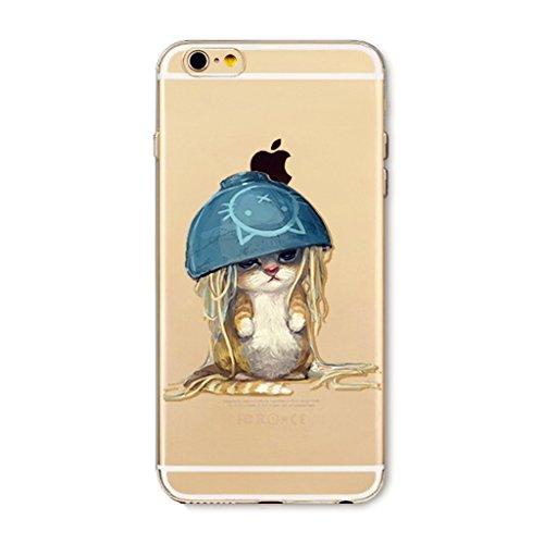 MUTOUREN Apple iPhone 6/6S TPU silicona funda Teléfono resistencia a la caída shell Ultra Delgado Caso shell Soft iPhone 6/6S sencillo Cover cuenco gato moda Funda Cáscara movil cubierta