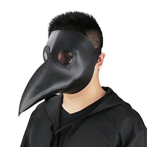 Dreamworldeu Pest Maske Vögel Lange Nase Schnabel Doktor Arzt Maske Steampunk Kunstleder Schnabelmaske Kopfmaske für Halloween Fasching Karneval Kostüm ()