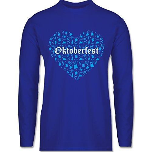 Shirtracer Oktoberfest Herren - Oktoberfest Herz - Herren Langarmshirt Royalblau