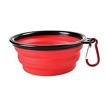 Sijueam Gamelles de Voyage en Silicone Souple pour Chiens Chats Chiot Animaux Pliable écuelle imperméable Portable bol pour l'eau Alimentaire avec Mousqueton - Rouge