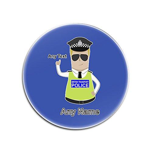 Uni-gift UniGift Glasuntersetzer mit britischer Transportpolizei (Polizei-Design, Farboptionen) - Name/Nachricht auf Ihrem einzigartigen Pad - BTP - Blond/Gelb Haar Polizist Hut Cap, Glas, blau, Rund (Für Verkauf Polizei-hut)