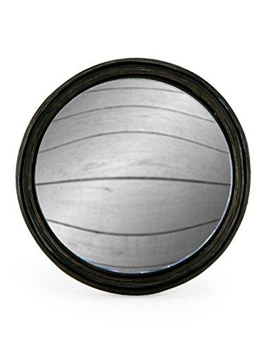 Specchio fisheye, convesso e rotondo, con cornice nera sottile in legno, 21cm