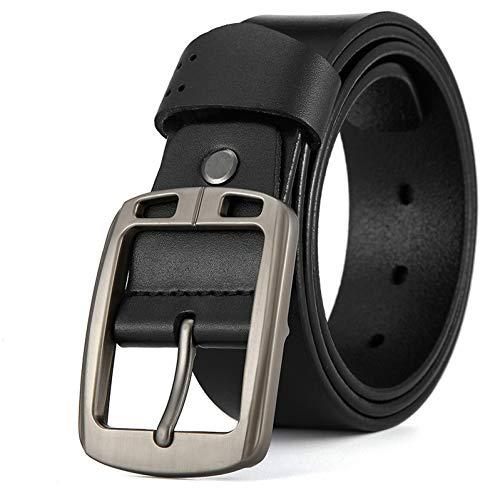 GOVVZ Männer Ledergürtel Gürtel Männer Mode Strap männlich Jeans für Mann Gürtel Kummerbunde,Black 1,120CM