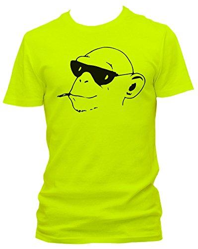 NEON Herren T-Shirt J.Roxx Cooler Affenkopf Fun, Größe:L;Farbe:neon gelb
