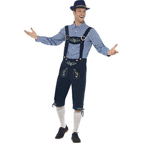 MIOIM Herren Oktoberfest Trachtenhose mit Träger Männer kostüm Halloween Kniebund Bayerische Kleidung Kariert Trachtenhemd mit Hut