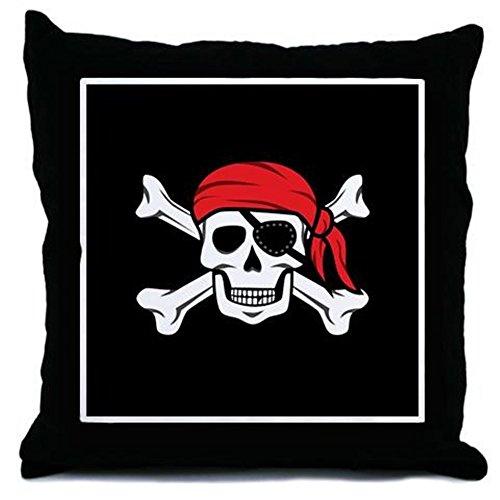 CafePress-Jolly Roger Pirat (auf Schwarz)-Überwurf Kissen, dekoratives Kissen, schwarz, Cover + Insert -
