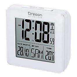 Oregon Scientific RM511 Orologio Radiocontrollato con Doppio Allarme Sveglia, Bianco