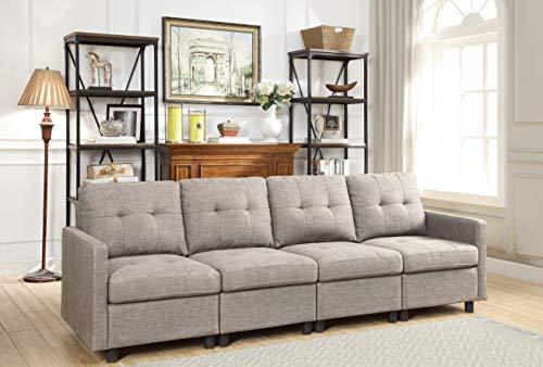Oadeer Home D6013-12-Light Grey-4PCS, Grau - Modulare Sectionals