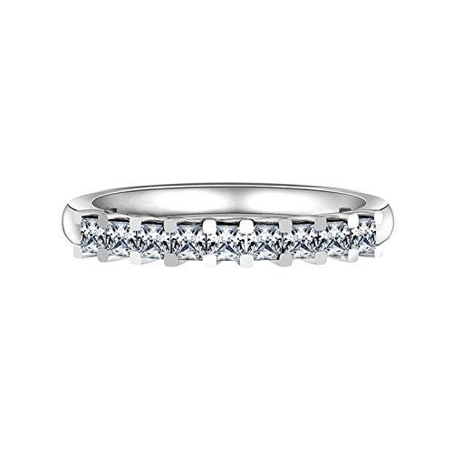 Beydodo Partner Ringe Silber 925 4-Steg-Krappenfassung Weiß Zirkonia  Prinzess Partnerring Ehering Ring Silber Größe 49 (15.6) 982efc09ce