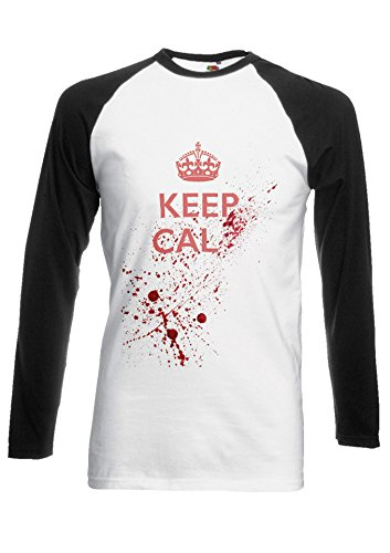 Keep Calm Dead Kill Blood Gun Halloween Novelty Black/White Men Women Unisex Long Sleeve Baseball T Shirt-L