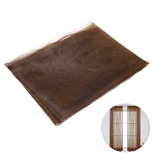 Winomo tenda voile trasparenti da finestra per casa tendaggio con stampa con passanti 100x200cm (caffè)