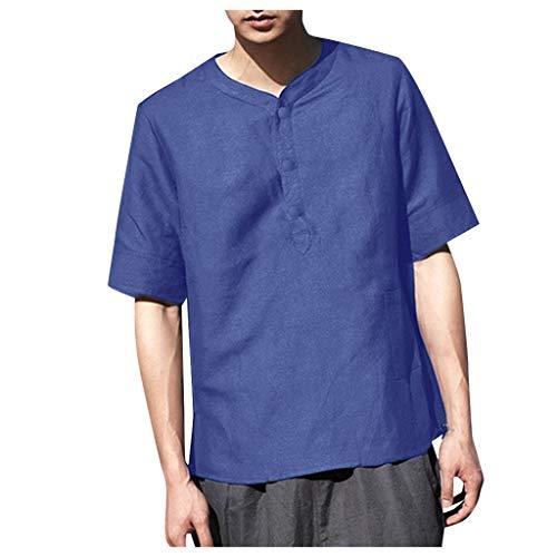 UINGKID Herren T-Shirt, Kurzarm Top Shirt Schlafanzugoberteil Sommer cool und dünn atmungsaktiv Kragen hängen gefärbt Farbverlauf Baumwollhemd