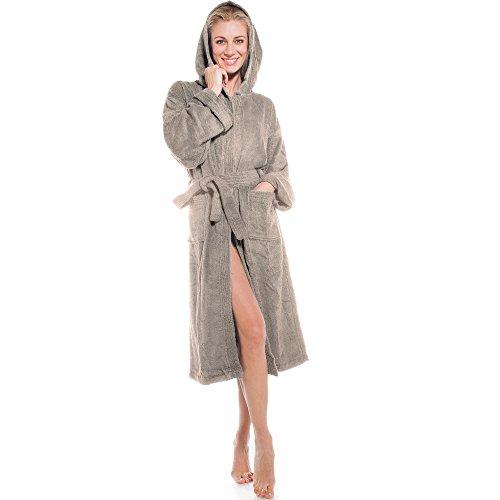 aqua-textil Frottee Bademantel mit Kapuze aus 100{7777fcba93ffbd6cd34bf674c1fcf6603b9e74c21d562adbd0de7919056bbe4d} Baumwolle, für Damen u. Herren, Morgenmantel Föhr 1000376 Taupe M