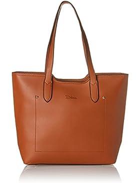 Damen Handtasche in braun I schlichter Shopper mit Reißverschluss I auch als Schultertasche tragbar I Lotta