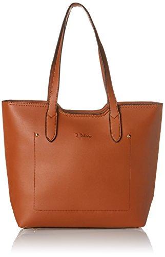 Damen Handtasche in braun I schlichter Shopper mit Reißverschluss I auch als Schultertasche tragbar I Lotta (Handtasche Braune Kunstleder)