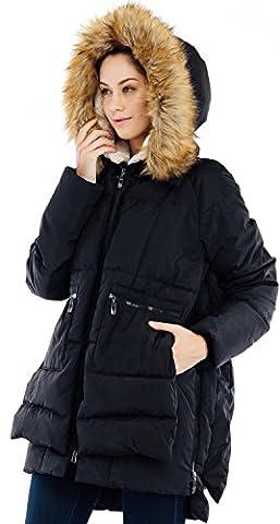 Valuker Damen Daunenmantel 90% Daunen Wintermantel Mit Kapuze Winterjacke mit hochwertigem Kunst Fellkapuze lang Parka(DE:46 / EU:3XL / US:2XL