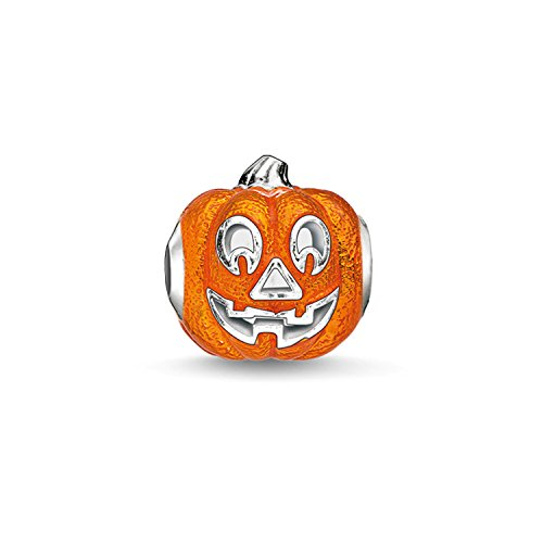 Den Cut Out Halloween Für Kürbis (THOMAS SABO Damen Bead K0184-007-8 925er Sterlingsilber, Orange Emailliert Silberfarben,)