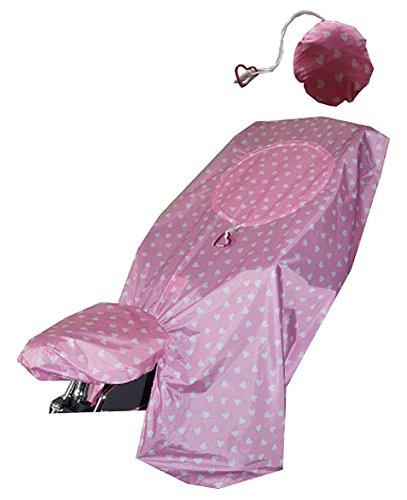 LUNARI Kinder Lucky Cape 2-in-1 Pink Hearts Fahrradkindersitz Regenschutz, Rosa/Weiß, One Size
