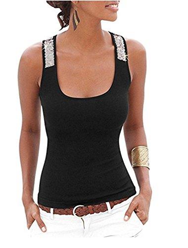 YOGLY Damen Damen Pailletten Shirt Träger Top Weste Top Oberteil Ärmellos T-Shirt Tanktop Blouse Schwarz