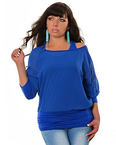 Damen Tunika 2 in 1 (6 Farben) No 12930, Farbe:Blau;Größe:One (Punk Kostüme Rock Prinzessin)