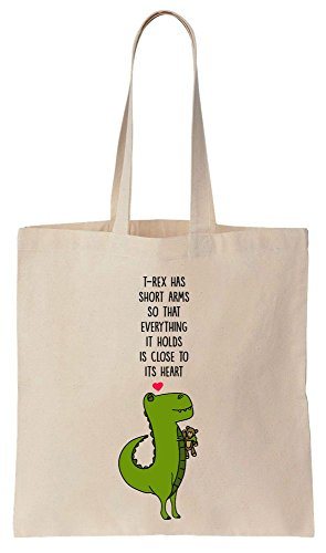 T-Rex Has Short Arms So That Everything It Holds Is Close To Its Heart Cotton Canvas Tote Bag Baumwollsegeltuch-Einkaufstasche (Trex-arme)