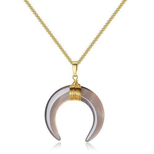 COAI Geschenkideen Mond Doppelhorn Anhänger aus Achat Grau Amulett Halskette Box-Chain-Kette für Damen und Herren