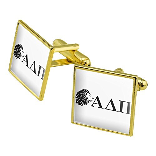Alpha Delta PI Sorority Löwe Griechische Buchstaben schwarz Offizielles Lizenzprodukt Manschettenknöpfe, quadratisch Set Gold Farbe