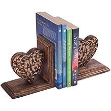 Store Indya, Set di 2 mano decorativo scolpito in legno di mango con cuore Design Fine Prenota supporto del basamento fine Bookshelf Organizer Home Office Decor