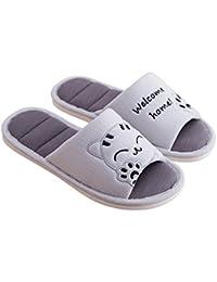 274e603dc7a70b Cliont Femmes Mignon Chat Doux Intérieur Pantoufles Bout Ouvert Coton Slip  sur Accueil Chaussures Maison Pantoufles