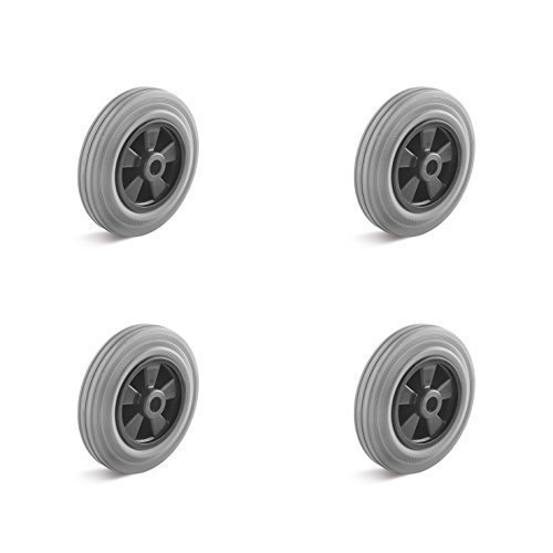 4er-Set Vollgummi Rad grau mit Kunststofffelge 200mm Tragkraft 615kg