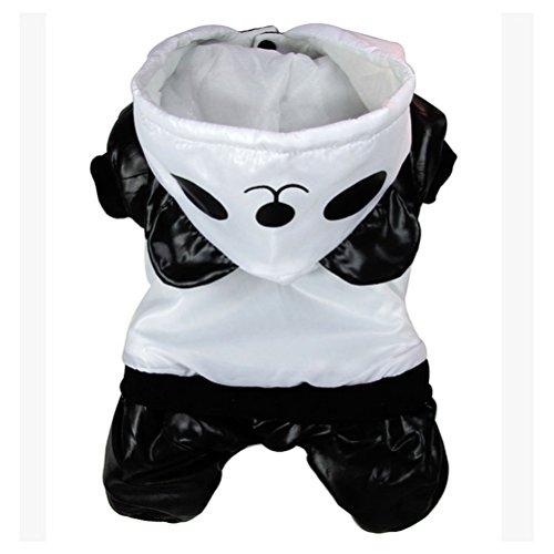 zunea Panda winddicht Pet Coat mit Kapuze für kleine Hunde/Welpen Jumpsuit Trench Jacke Warm Hund Halloween Kostüm Kleidung (Kleinen Hund Halloween-kostüme)