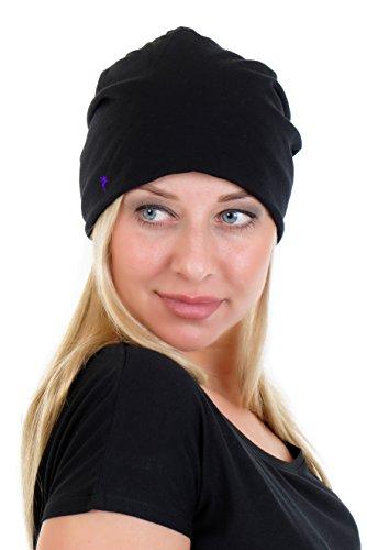 Beanie Mütze schwarz / grau aus leichtem Jersey elastisch einfarbig und schlicht mit der Logo Elfe von 3Elfen - schwarz lila